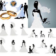 Wedding silhouettes vector