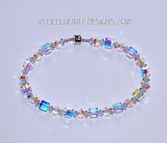m/w Swarovski Crystal All Aurora Borealis Bracelet Cube Beads Mixed with Sparkly Faceted Rondelles for Dressy or Jeans Lilli Heart Designs by LilliHeartDesigns on Etsy Crystal Bracelets, Jewelry Bracelets, Beaded Jewelry, Handmade Jewelry, Anklets, Jewelry Crafts, Swarovski Crystals, Just For You, Heart Designs