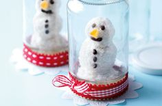 Coconut & chocolate snowmen in a jam jar... table decoration and treat to eat