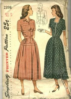 This is a lovely example of the early 1950s look with the full, hip-emphasizing skirt and pretty horizontal bodice detailing.