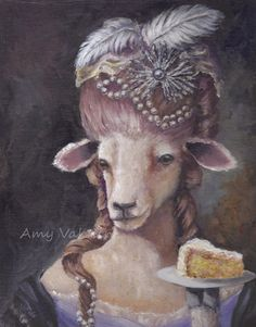 Let Them Eat Cake/ sheep 8x10 print/ Animal portrait/ by AmyVaknin, $15.00
