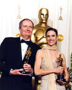Winners Jim Broadbent for 'Iris' and Jennifer Connelly for 'A Beautiful Mind' in the Press Room in 2002.  Photo: Getty.