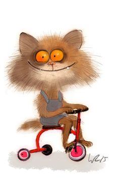Кот катается на трехколесном велосипеде, by Wiebke Rauers