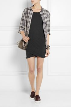James Perse|Slub linen-blend jersey mini dress|NET-A-PORTER.COM