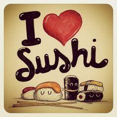 I love Sushi. You love Sushi He/She loves Sushi We love Sushi Sántomi Sushi Bar Kawaii Drawings, Cute Drawings, Sushi Drawing, Sushi Cartoon, Sushi Love, Sushi Sushi, Sushi Recipes, Dibujos Cute, Kawaii Wallpaper