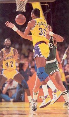 Magic Johnson, James Worthy and Dennis Johnson (Boston Celtics)