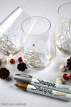 sharpie-paint-pens-christmas-glasses-project by lynne Christmas Glasses, Noel Christmas, Diy Christmas Gifts, Christmas Projects, Holiday Crafts, Holiday Fun, Christmas Decorations, Xmas, Christmas Candle