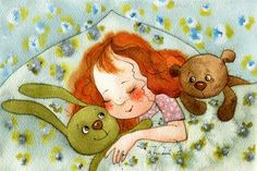 Victoria Kirdiy - Little bear is jealous of girl's attention to her green bunny. Art And Illustration, Illustrations, Girl Sleeping, Stuffed Animal Patterns, Painting For Kids, Beautiful Artwork, Artist Art, Cute Drawings, Art Day