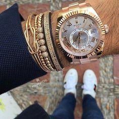 Rose Gold Rolex SkyDweller Photo by Anil Arjandas #LuxuryLifestyleMagazine #luxurywatches