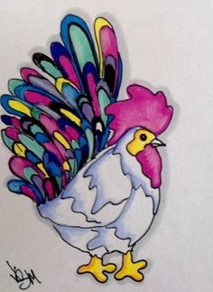 """Aceo Original  """"COLORFUL ROOSTER""""  pencil/ink  #OutsiderArt"""
