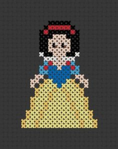 Disney Princess Cross Stitch ! Pixel Design ! Snow White !! She has ALL of them as patterns !!! Cant wait to do them !!