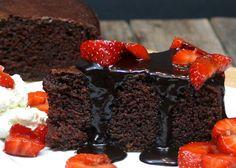 Six Minute Chocolate Cake with Chocolate-Balsamic Glaze, Macerated Strawberries & Mascarpone Whipped Cream | Noble Pig