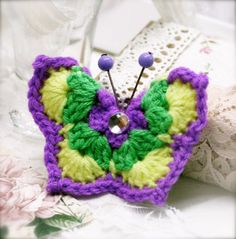 Ocha yam crocheted butterfly hair pin CRB by sophinegiam on Etsy