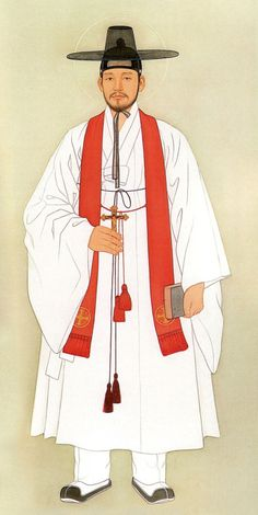 Korean Art and Design Taegon Kim also known as St. Andrew Kim Taegon, was Korea's first native born Catholic priest. Korean Painting, Chinese Painting, Chinese Art, Catholic Art, Religious Art, Catholic Priest, Korean Traditional Dress, Traditional Art, Traditional Clothes