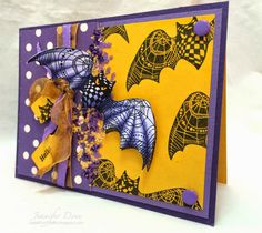 Featuring Stampendous' PenPattern Bat SKU 462097m available at www.addictedtorubberstamps.com Card created by Jennifer Dove of Just4FunCrafts.
