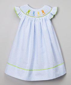 Love this Blue Seersucker Bunny Bishop Dress - Infant, Toddler & Girls on #zulily! #zulilyfinds