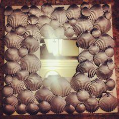 Scallop shell DIY mirror