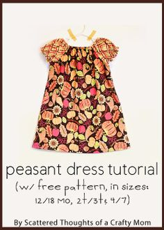 Learn How to Sew a Peasant Dress with this Free Peasant Dress Pattern (sz 12 mo to Free printable PDF Peasant Dress Pattern in sizes 12 months to Step by step tutorial w/ excellent photos. Sewing Kids Clothes, Sewing For Kids, Baby Sewing, Diy Clothes, Peasant Dress Patterns, Toddler Dress Patterns, Peasant Dress Tutorials, Pattern Dress, Sewing Patterns Free
