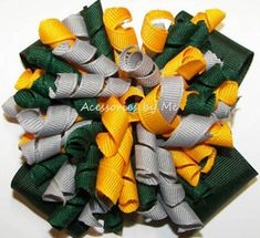 Korkers Hair Bow, Green Softball Clip, Green Gray Yellow Gold Curly Ribbon, Packers Spirit Bow, Ducks Softball Bow, Green Gold Team Barrette Softball Hair Bows, Cheer Hair Bows, Softball Shirts, Softball Stuff, Gray Yellow, Green And Gold, Softball Pitching, Fastpitch Softball, Volleyball Drills