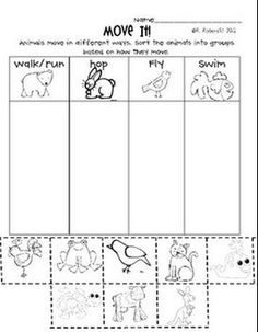 """FREE"" Animal Cut & Paste Activities - life cycles, how they move, body coverings"