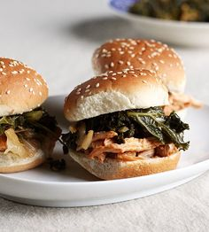 Korean chicken sliders with braised kale & kimchi from The Kitchn