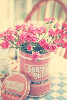 So sweetly lovely. #pink #flowers #roses #shabby #chic #vintage #tin