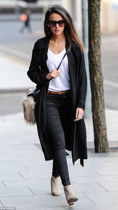 Stylish: Michelle Keegan emerged in Birmingham on Saturday afternoon in an on-trend monoch...