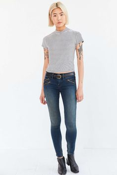 BDG Twig Theo Moto Mid-Rise Skinny Jean - Urban Outfitters