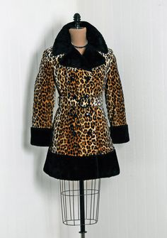 1960's Vintage Leopard Animal-Print Novelty Faux-Fur Couture Portrait-Collar Mod Double-Breasted Military Belted Princess Dress-Jacket Coat