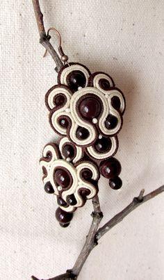 Beige Braun Ohrringe Soutache Perle Ohrringe Casual von MoreMDesign