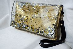 Leather & Glitter Clutch Bag Purse Wristlet in by GlitterDisaster, $48.00