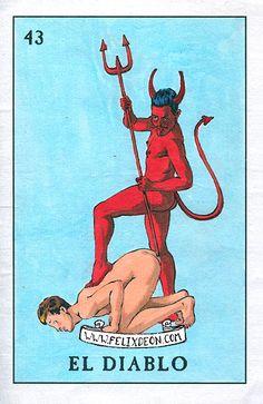 El Diablo - Gay Devil Satan Mexican Art Gay Latino Queer Loteria Felix d'Eon - Print