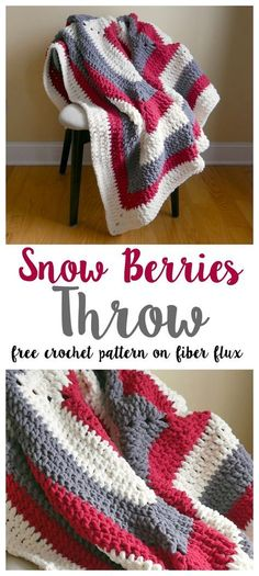The Snow Berries Throw is wintry, lofty, and so super comfy! Crocheted in a modern stripy square, the color possibilities are en...