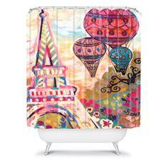 DENY Designs Home Accessories | Natasha Wescoat Balloons Sur Paris Shower Curtain