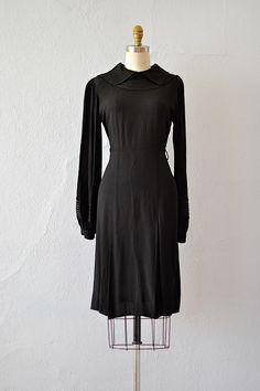 vintage 1930s black rayon puff sleeve dress