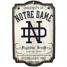NOTRE DAME FIGHTING IRISH OFFICAL RETRO REAL WOOD SIGN #nd