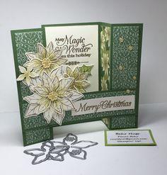 Simple Christmas Cards, Stampin Up Christmas, Xmas Cards, Handmade Christmas, Holiday Cards, Poinsettia Cards, Christmas Poinsettia, Christmas Greenery, Fun Fold Cards