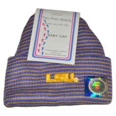 LSU Tigers Two Feet Ahead Infant Baby Purple Yellow Striped Knit Beanie Hat Cap