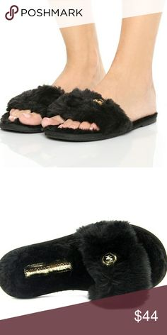 MICHAEL KORS FAUX FUR SLIPPERS Brand new  The Michael Michael Kors Jet Set MK logo black faux fur Slippers feature a Synthetic upper with a Open-Toe. The Man-Made outsole lends lasting traction and wear.   No tags/ no box  Christmas stocking stuffer party birthday gift present holiday slipper booties MK designer high end Michael Kors Shoes Slippers