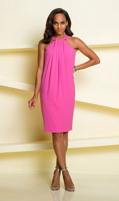 The neckline makes this dress! The drape on this dress makes shoulders and arms look amazing! A gorgeous, rich color. $335. (Sizes 00-16) Visit our page to order: www.etceteracomestoyou.com