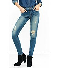 Mid Rise Performance Stretch Distressed Leggings | Express