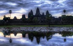 Hindu Temples at Cambodia reflecting the Towers of Meru