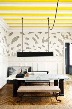 yellow ceiling // dining room