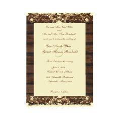 Wood Planks Cream Shabby Lace Wedding Invitation invitation