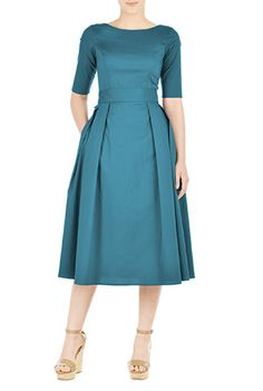 I <3 this Stretch cotton poplin belted dress from eShakti