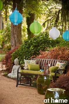Complement the natural outdoor elements for a serene look and feel. The floating lanterns add a fun element and outdoor lighting for enjoying the space in the evening. Patio Ideas, Outdoor Ideas, Backyard Ideas, Outdoor Decor, Garden Ideas, Outside Furniture, Outdoor Furniture Sets, Garden Ridge, Floating Lanterns