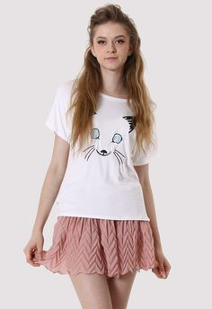 Cat Face Embroidery T-shirt. I like this combo too.. #Chicwish