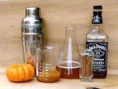 Jack-O-Lantern - makes one cocktail - 1.5 oz Jack Daniels 1.5 oz spiced apple cider 2 tablespoons pumpkin puree 1 tablespoon maple syrup 1 dash cinnamon Nutmeg, for garnish Cinnamon stick, for garnish