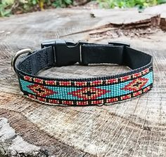This design is inspired by a beautiful blanket I saw while attending a Pow Wow in California. This pattern is 1 wide and approximately 6.5 long. The minimum length for this collar is 15. You can also personalize the buckle of your collar with up to 3 lines of engraving. Please note all customization in the Note to Seller section on check-out. HOW DO WE CUSTOMIZE? Scroll through the pictures and you will see your choices for collar, buckle and font. When you are ready to checkout, in the…