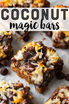These amazing coconut magic bars (also called 7 layer bars) are the epitome of ooey gooey goodness! Köstliche Desserts, Delicious Desserts, Dessert Recipes, Yummy Food, Health Desserts, Plated Desserts, Dinner Recipes, Magic Cookie Bars, Magic Bars
